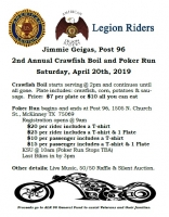 American Legion 2nd Annual Crawfish Boil & Poker Run